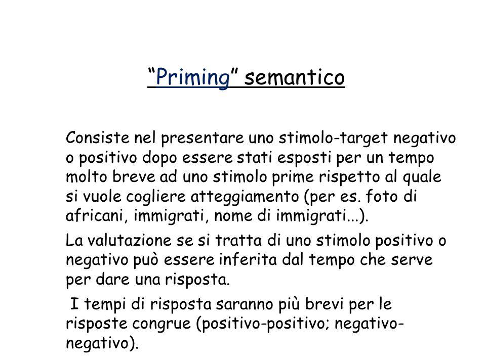 """""""Priming"""" semantico Consiste nel presentare uno stimolo-target negativo o positivo dopo essere stati esposti per un tempo molto breve ad uno stimolo p"""