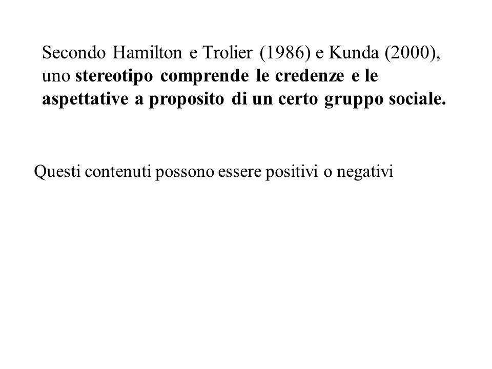 Secondo Hamilton e Trolier (1986) e Kunda (2000), uno stereotipo comprende le credenze e le aspettative a proposito di un certo gruppo sociale. Questi