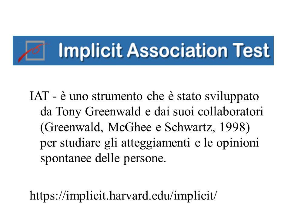 IAT - è uno strumento che è stato sviluppato da Tony Greenwald e dai suoi collaboratori (Greenwald, McGhee e Schwartz, 1998) per studiare gli atteggia