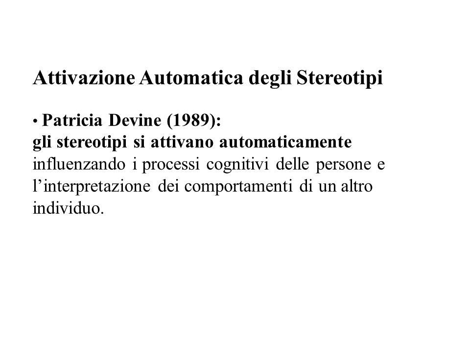 Attivazione Automatica degli Stereotipi Patricia Devine (1989): gli stereotipi si attivano automaticamente influenzando i processi cognitivi delle per