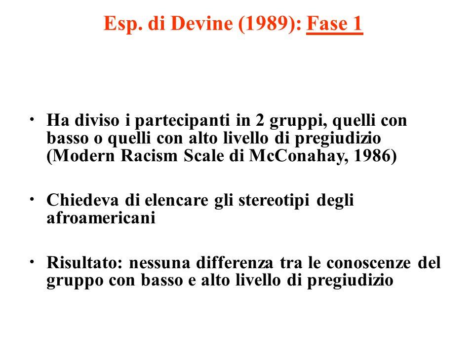 Esp. di Devine (1989): Fase 1 Ha diviso i partecipanti in 2 gruppi, quelli con basso o quelli con alto livello di pregiudizio (Modern Racism Scale di
