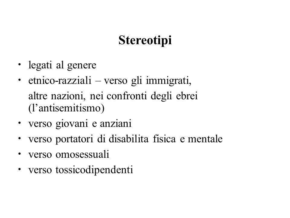 Stereotipi legati al genere etnico-razziali – verso gli immigrati, altre nazioni, nei confronti degli ebrei (l'antisemitismo) verso giovani e anziani