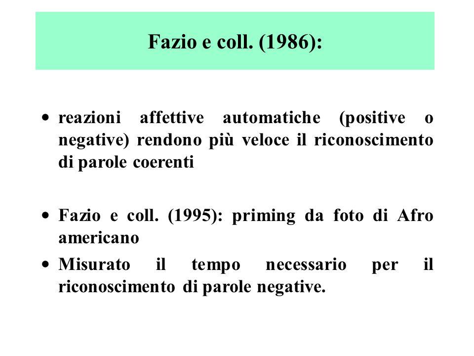 reazioni affettive automatiche (positive o negative) rendono più veloce il riconoscimento di parole coerenti Fazio e coll. (1995): priming da foto di