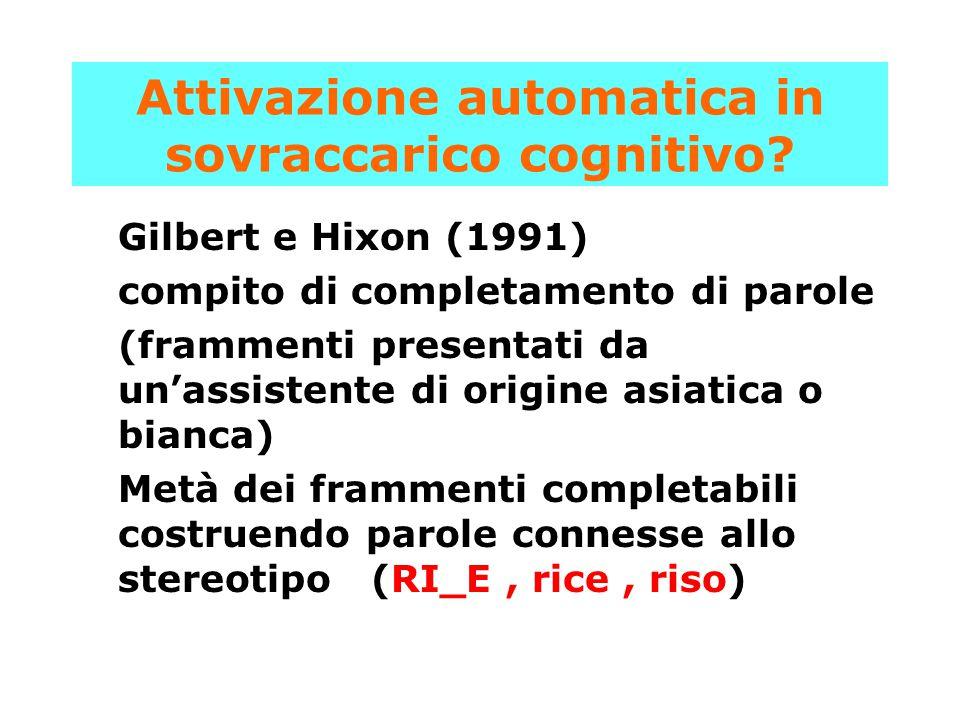 Attivazione automatica in sovraccarico cognitivo? Gilbert e Hixon (1991) compito di completamento di parole (frammenti presentati da un'assistente di