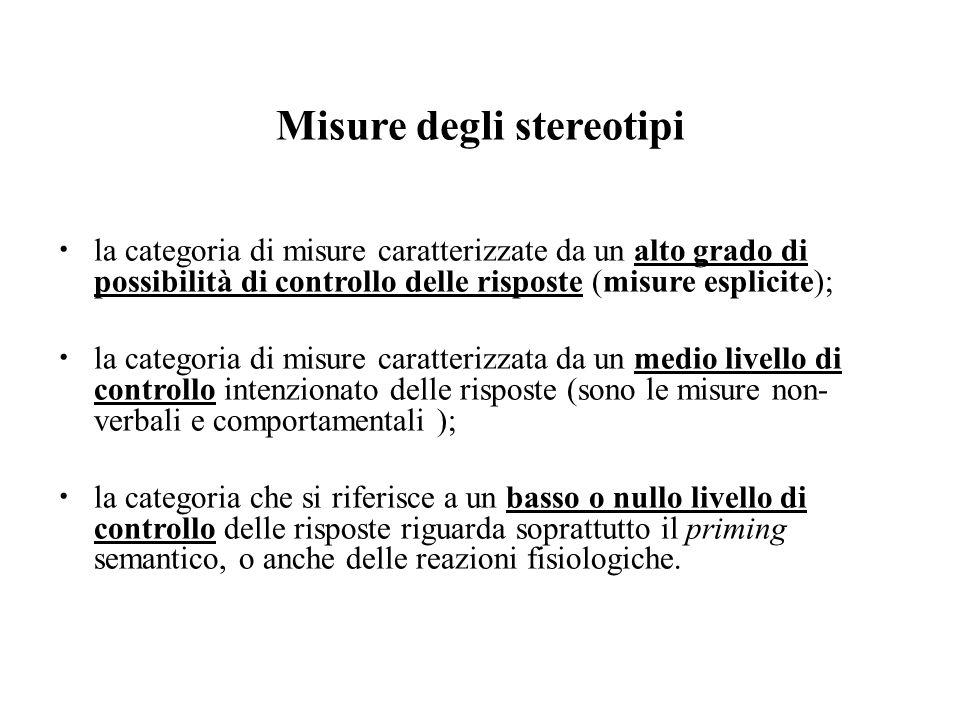 Misure degli stereotipi la categoria di misure caratterizzate da un alto grado di possibilità di controllo delle risposte (misure esplicite); la categ