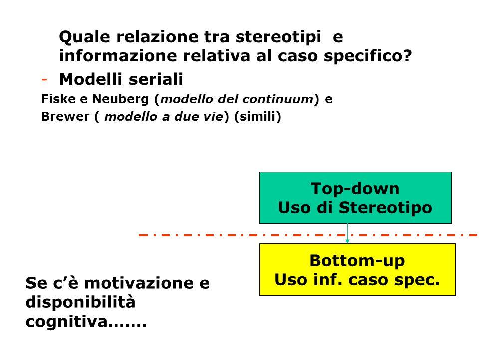 -Quale relazione tra stereotipi e informazione relativa al caso specifico? -Modelli seriali Fiske e Neuberg (modello del continuum) e Brewer ( modello