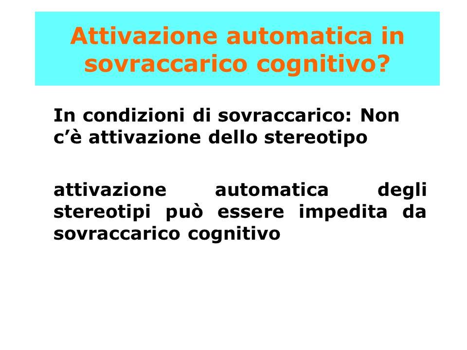 In condizioni di sovraccarico: Non c'è attivazione dello stereotipo attivazione automatica degli stereotipi può essere impedita da sovraccarico cognit
