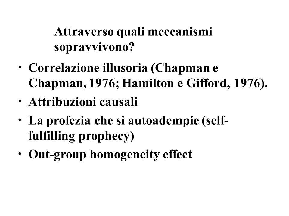 Correlazione illusoria (Chapman e Chapman, 1976; Hamilton e Gifford, 1976). Attribuzioni causali La profezia che si autoadempie (self- fulfilling prop