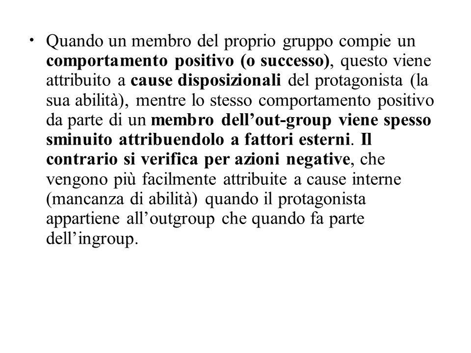 Quando un membro del proprio gruppo compie un comportamento positivo (o successo), questo viene attribuito a cause disposizionali del protagonista (la