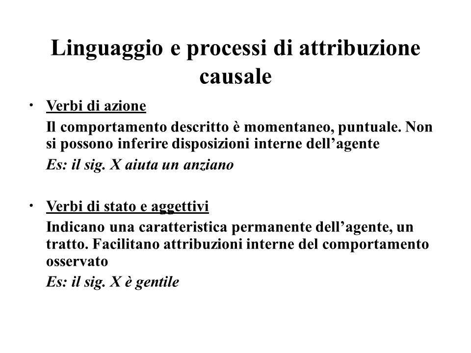 Linguaggio e processi di attribuzione causale Verbi di azione Il comportamento descritto è momentaneo, puntuale. Non si possono inferire disposizioni