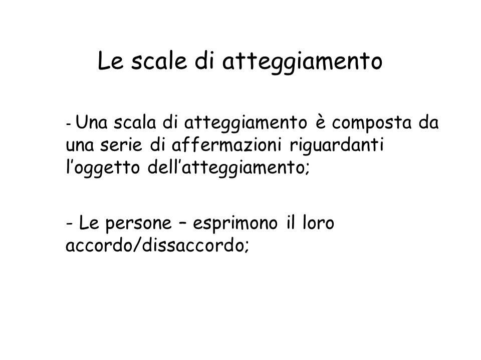 Le scale di atteggiamento - Una scala di atteggiamento è composta da una serie di affermazioni riguardanti l'oggetto dell'atteggiamento; - Le persone