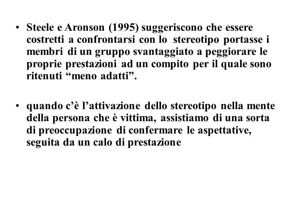 Steele e Aronson (1995) suggeriscono che essere costretti a confrontarsi con lo stereotipo portasse i membri di un gruppo svantaggiato a peggiorare le
