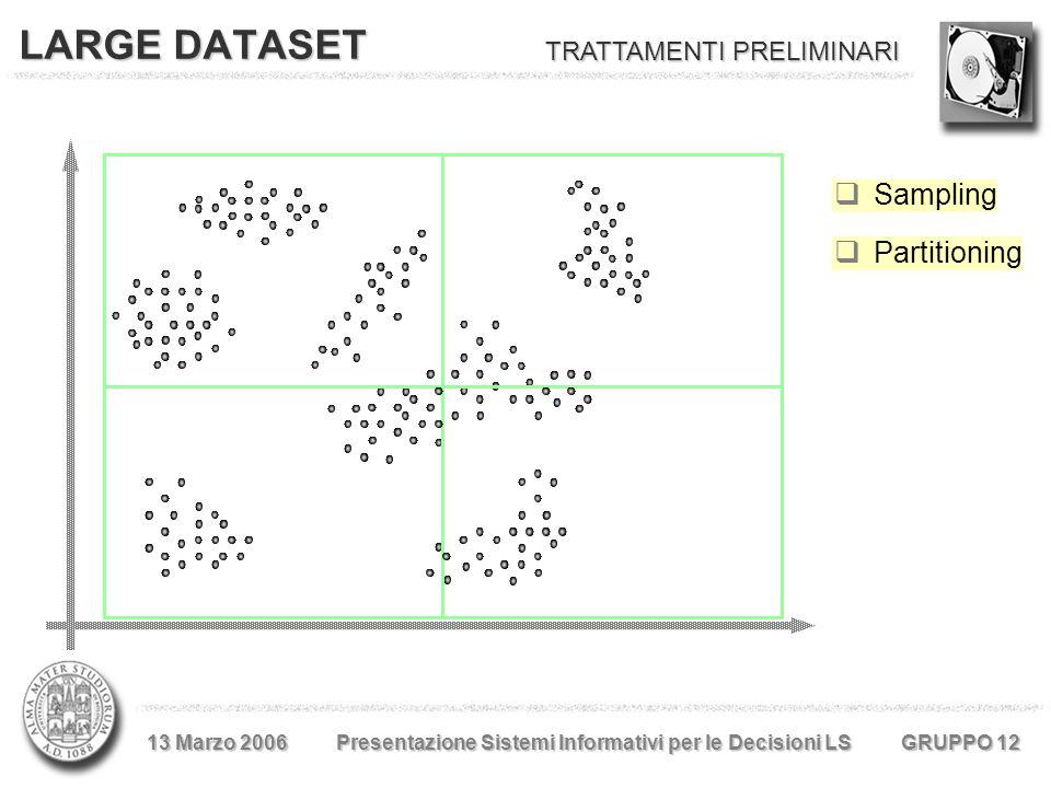  Sampling LARGE DATASET 13 Marzo 2006 Presentazione Sistemi Informativi per le Decisioni LS GRUPPO 12  Partitioning TRATTAMENTI PRELIMINARI