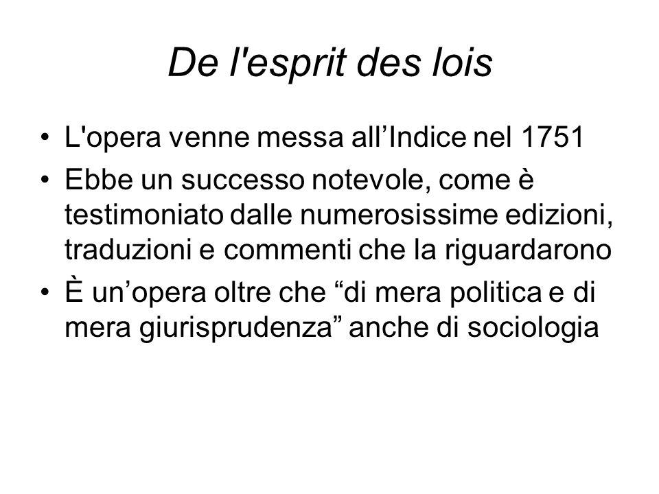 De l esprit des lois L opera venne messa all'Indice nel 1751 Ebbe un successo notevole, come è testimoniato dalle numerosissime edizioni, traduzioni e commenti che la riguardarono È un'opera oltre che di mera politica e di mera giurisprudenza anche di sociologia