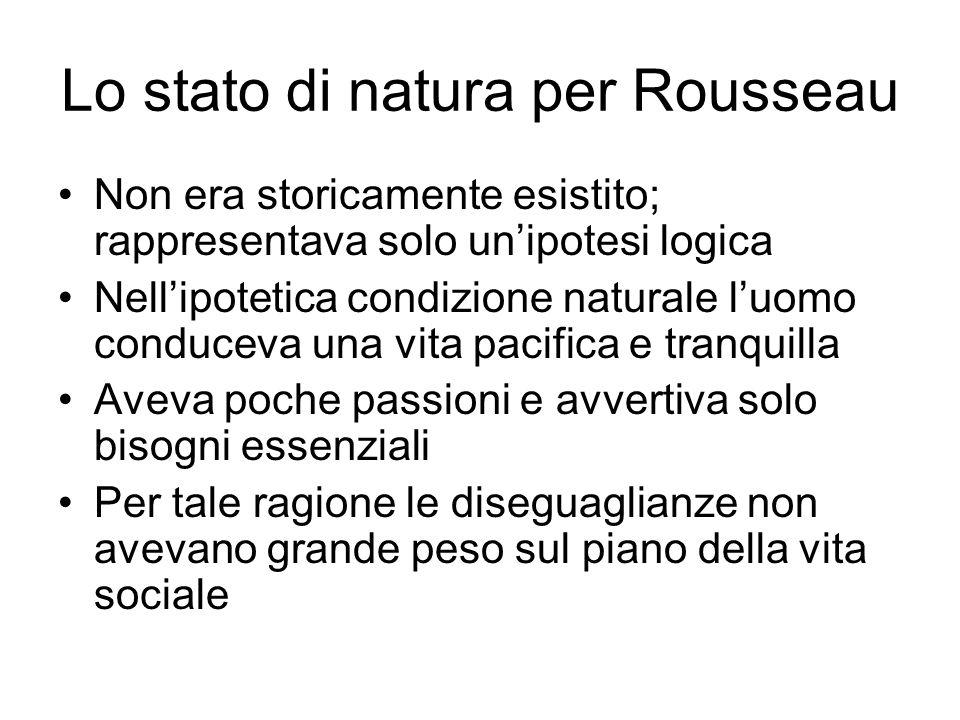 Lo stato di natura per Rousseau Non era storicamente esistito; rappresentava solo un'ipotesi logica Nell'ipotetica condizione naturale l'uomo conduceva una vita pacifica e tranquilla Aveva poche passioni e avvertiva solo bisogni essenziali Per tale ragione le diseguaglianze non avevano grande peso sul piano della vita sociale