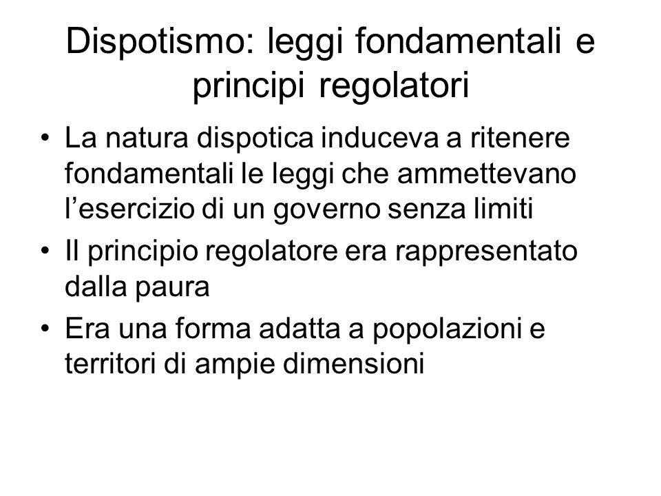 Dispotismo: leggi fondamentali e principi regolatori La natura dispotica induceva a ritenere fondamentali le leggi che ammettevano l'esercizio di un g