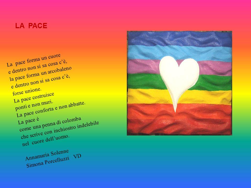LA PACE La pace forma un cuore e dentro non si sa cosa c'è, la pace forma un arcobaleno e dentro non si sa cosa c'è, forse unione. La pace costruisce