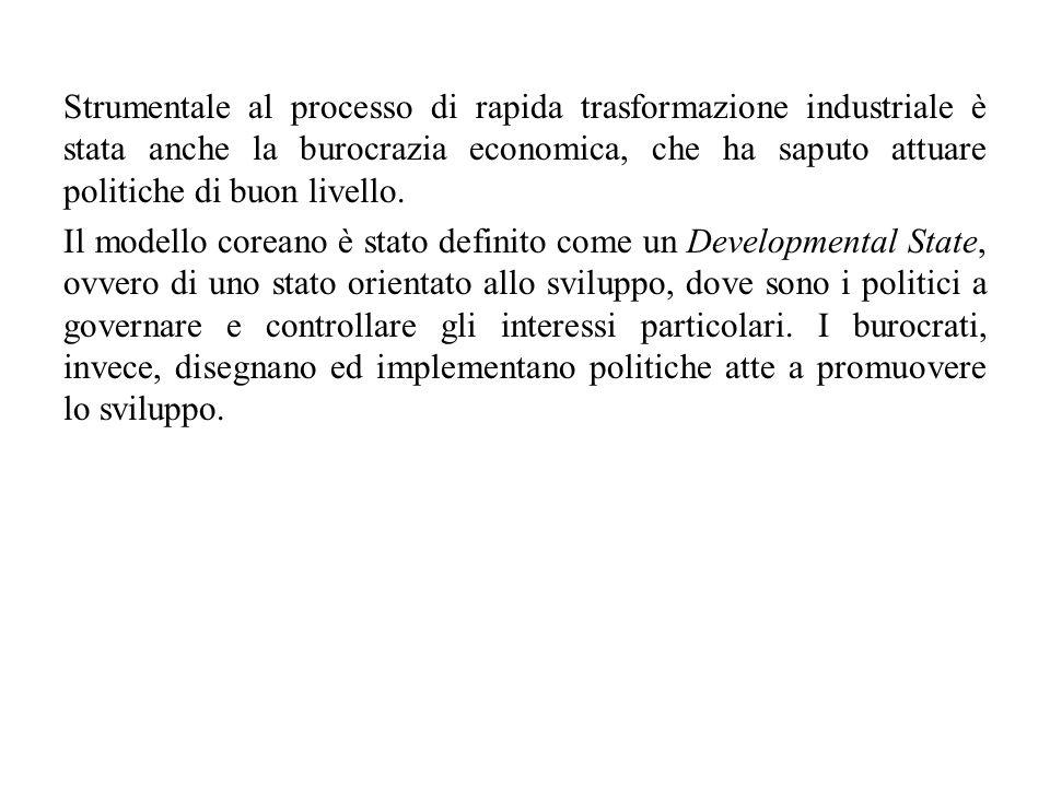 Strumentale al processo di rapida trasformazione industriale è stata anche la burocrazia economica, che ha saputo attuare politiche di buon livello.