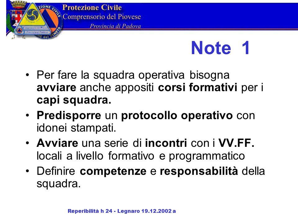 Note 1 Per fare la squadra operativa bisogna avviare anche appositi corsi formativi per i capi squadra.