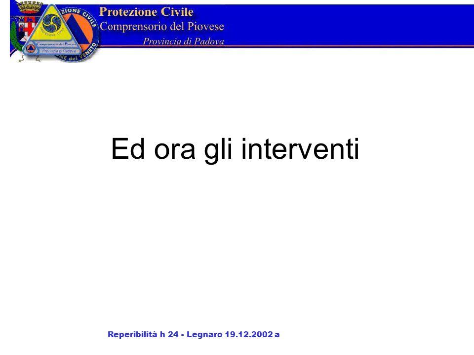 Ed ora gli interventi Reperibilità h 24 - Legnaro 19.12.2002 a