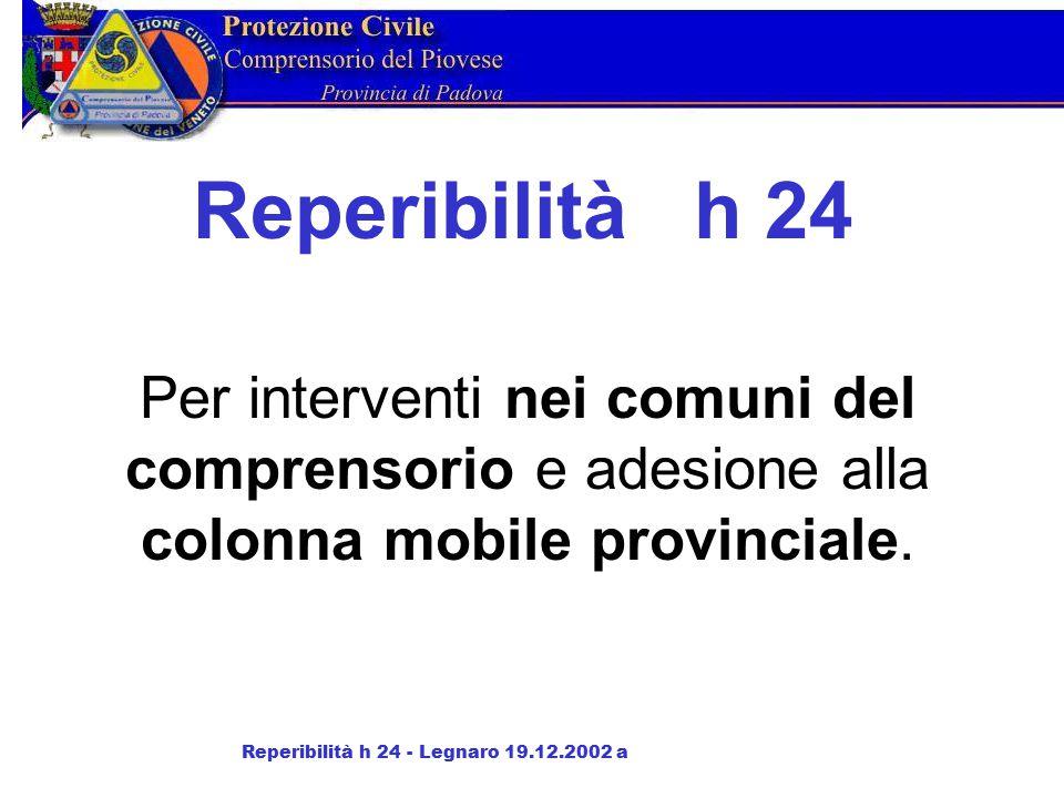 Reperibilità h 24 Per interventi nei comuni del comprensorio e adesione alla colonna mobile provinciale.