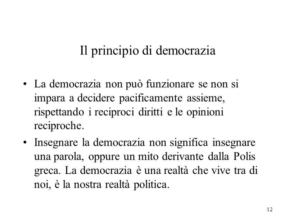 12 Il principio di democrazia La democrazia non può funzionare se non si impara a decidere pacificamente assieme, rispettando i reciproci diritti e le opinioni reciproche.