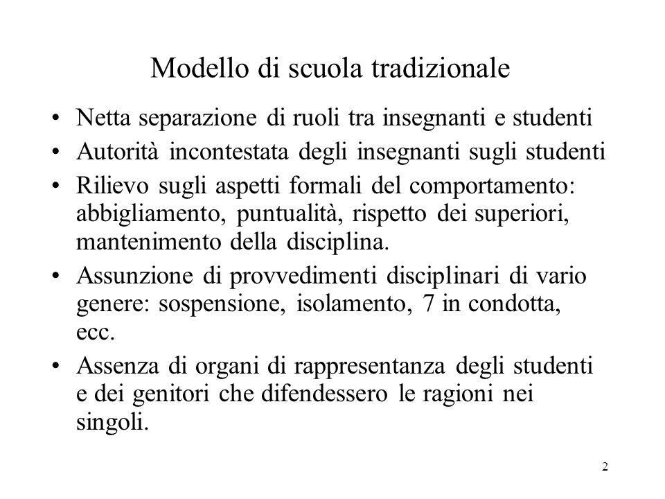 3 Modello di scuola progressista La scuola intesa come una comunità discente di professori e studenti.