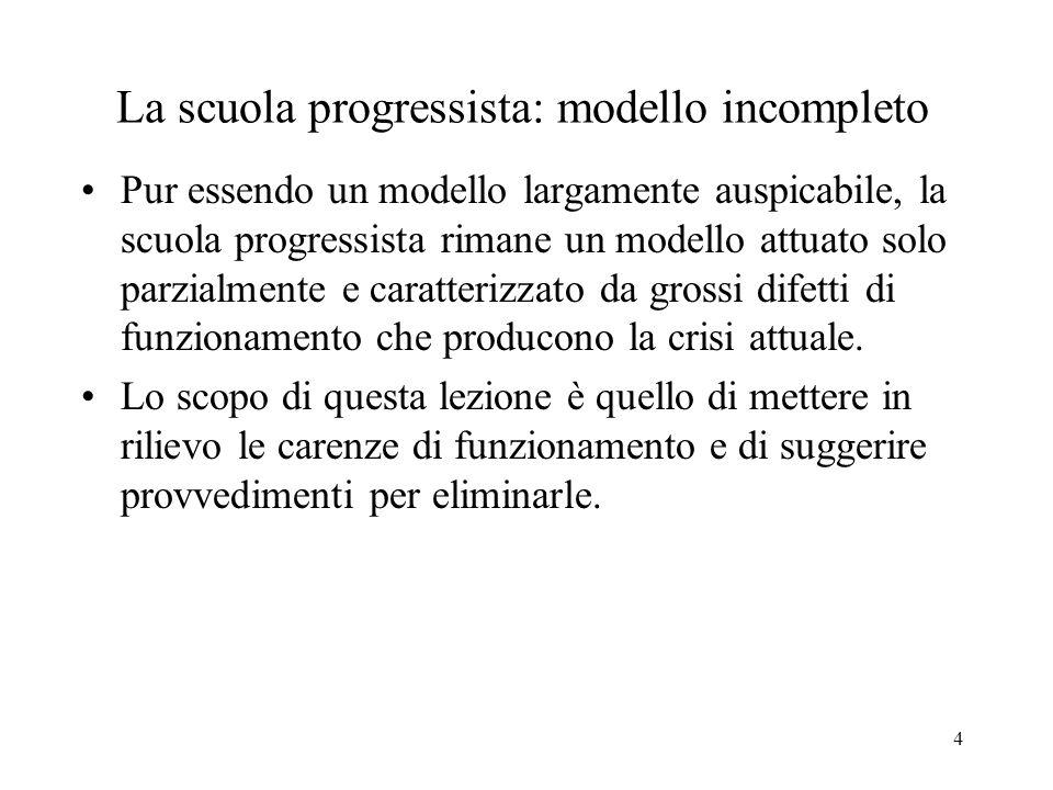 4 La scuola progressista: modello incompleto Pur essendo un modello largamente auspicabile, la scuola progressista rimane un modello attuato solo parzialmente e caratterizzato da grossi difetti di funzionamento che producono la crisi attuale.