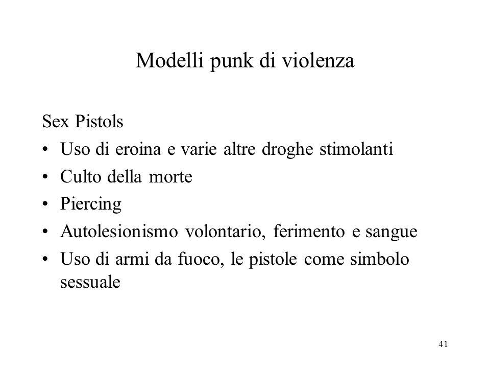 41 Modelli punk di violenza Sex Pistols Uso di eroina e varie altre droghe stimolanti Culto della morte Piercing Autolesionismo volontario, ferimento e sangue Uso di armi da fuoco, le pistole come simbolo sessuale