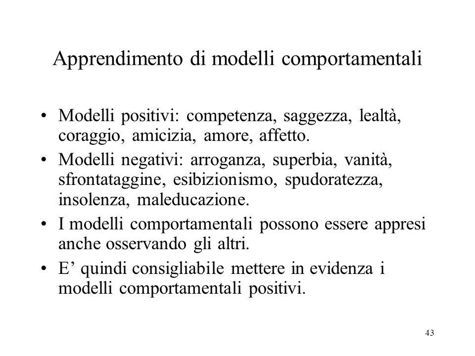 43 Apprendimento di modelli comportamentali Modelli positivi: competenza, saggezza, lealtà, coraggio, amicizia, amore, affetto.