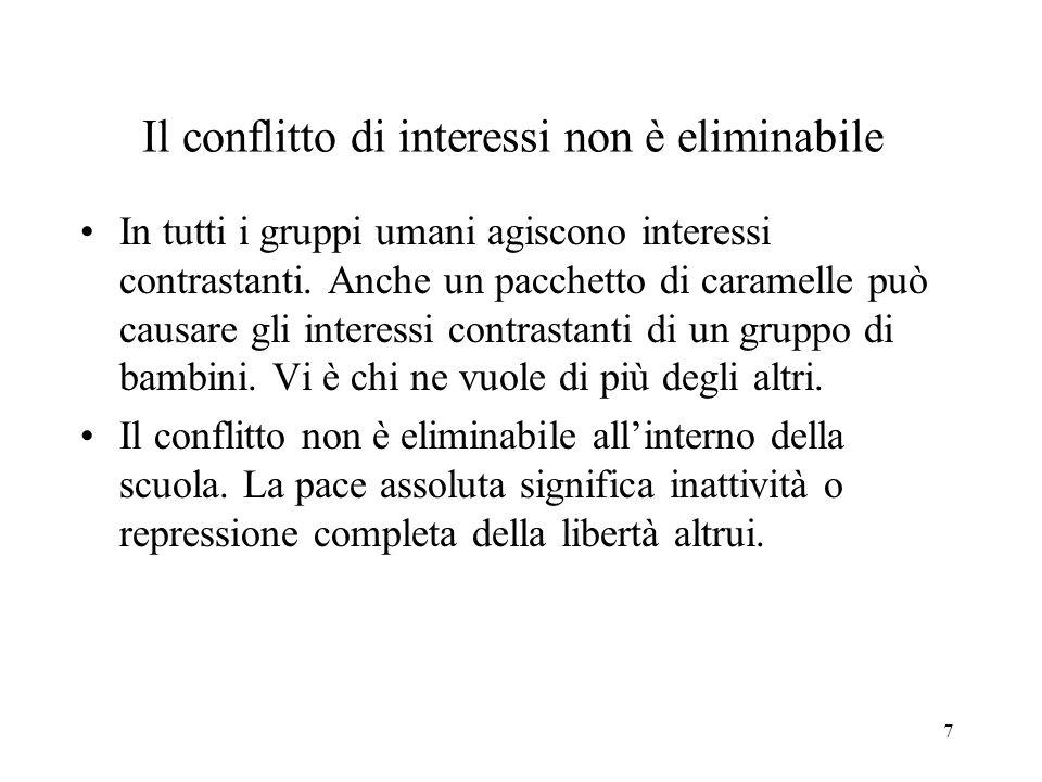 7 Il conflitto di interessi non è eliminabile In tutti i gruppi umani agiscono interessi contrastanti.