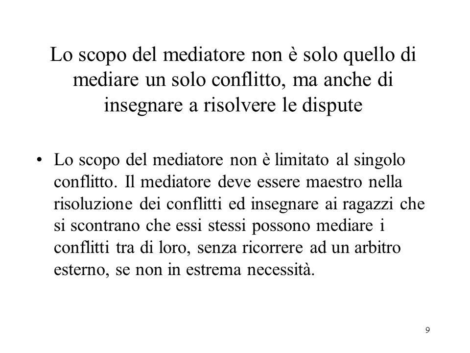 9 Lo scopo del mediatore non è solo quello di mediare un solo conflitto, ma anche di insegnare a risolvere le dispute Lo scopo del mediatore non è limitato al singolo conflitto.