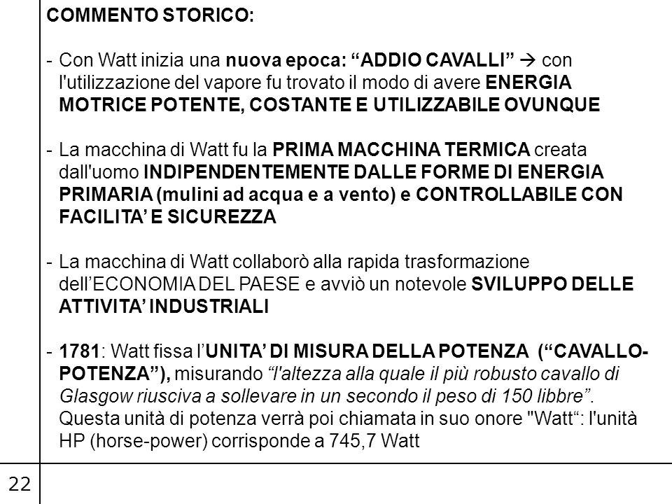 """22 COMMENTO STORICO: -Con Watt inizia una nuova epoca: """"ADDIO CAVALLI""""  con l'utilizzazione del vapore fu trovato il modo di avere ENERGIA MOTRICE PO"""