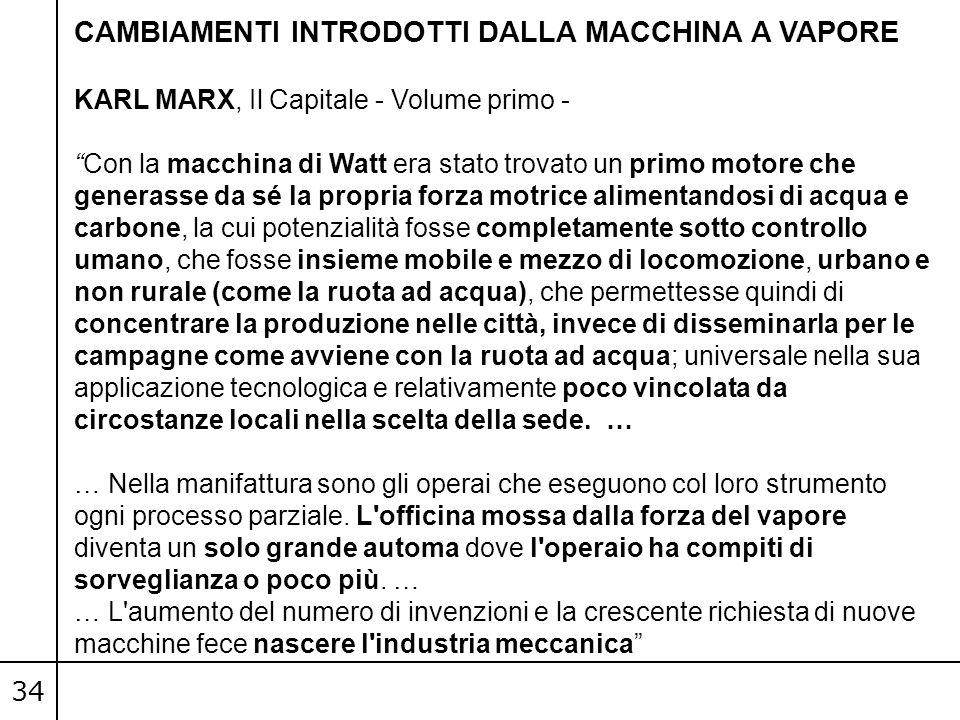 """34 CAMBIAMENTI INTRODOTTI DALLA MACCHINA A VAPORE KARL MARX, Il Capitale - Volume primo - """"Con la macchina di Watt era stato trovato un primo motore c"""