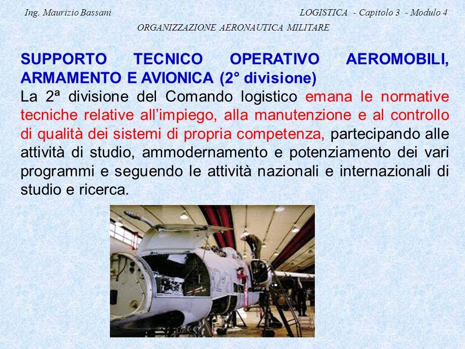 Ing. Maurizio Bassani LOGISTICA - Capitolo 3 - Modulo 4 ORGANIZZAZIONE AERONAUTICA MILITARE SUPPORTO TECNICO OPERATIVO AEROMOBILI, ARMAMENTO E AVIONIC