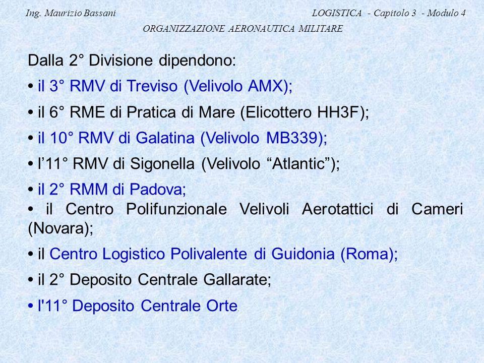 Ing. Maurizio Bassani LOGISTICA - Capitolo 3 - Modulo 4 ORGANIZZAZIONE AERONAUTICA MILITARE Dalla 2° Divisione dipendono: il 3° RMV di Treviso (Velivo