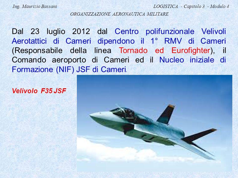 Ing. Maurizio Bassani LOGISTICA - Capitolo 3 - Modulo 4 ORGANIZZAZIONE AERONAUTICA MILITARE Dal 23 luglio 2012 dal Centro polifunzionale Velivoli Aero
