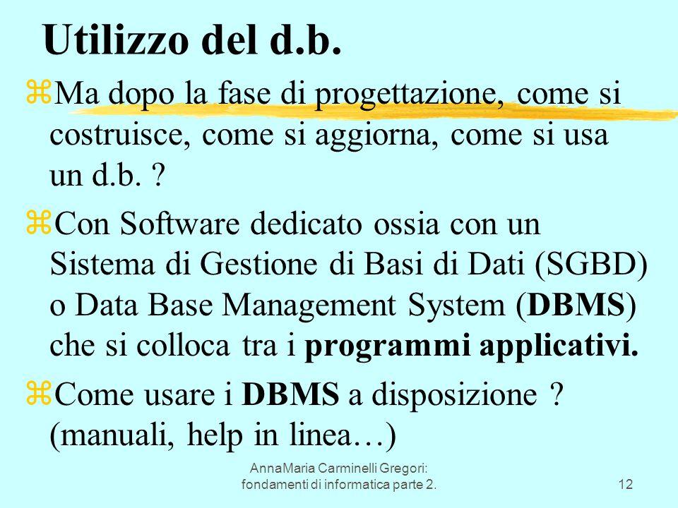 AnnaMaria Carminelli Gregori: fondamenti di informatica parte 2.12 Utilizzo del d.b. zMa dopo la fase di progettazione, come si costruisce, come si ag