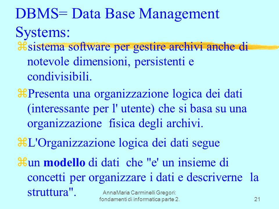 AnnaMaria Carminelli Gregori: fondamenti di informatica parte 2.21 DBMS= Data Base Management Systems: zsistema software per gestire archivi anche di notevole dimensioni, persistenti e condivisibili.