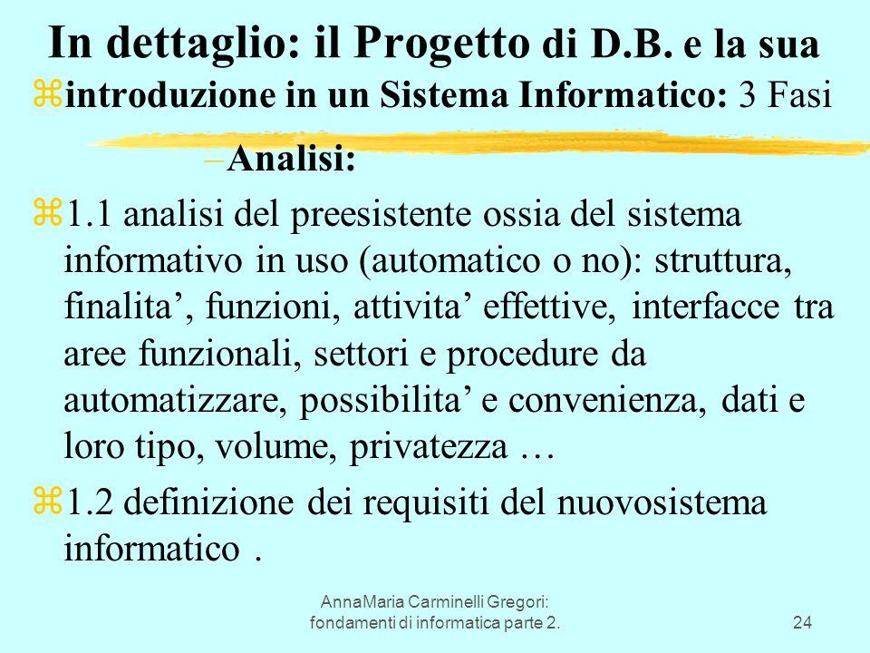 AnnaMaria Carminelli Gregori: fondamenti di informatica parte 2.24 In dettaglio: il Progetto di D.B. e la sua  introduzione in un Sistema Informatico