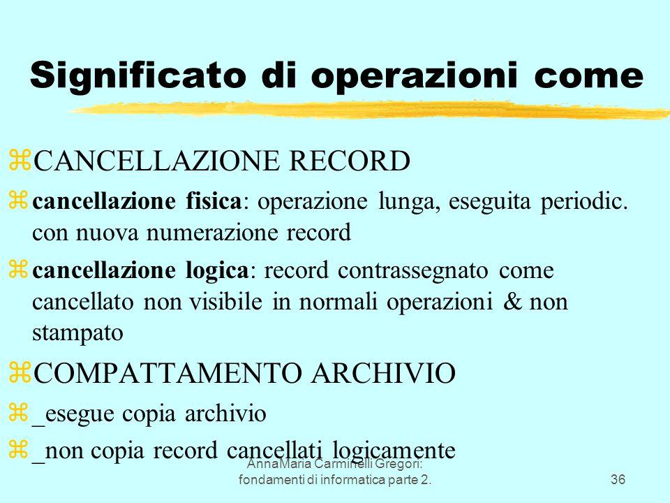 AnnaMaria Carminelli Gregori: fondamenti di informatica parte 2.36 Significato di operazioni come zCANCELLAZIONE RECORD zcancellazione fisica: operazione lunga, eseguita periodic.