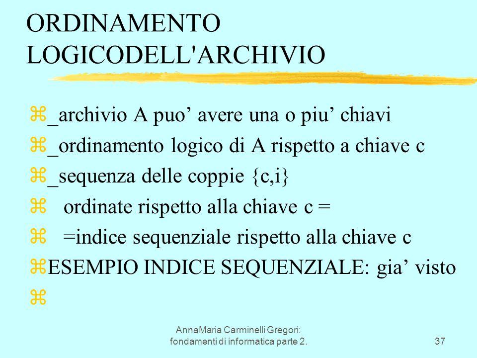 AnnaMaria Carminelli Gregori: fondamenti di informatica parte 2.37 ORDINAMENTO LOGICODELL'ARCHIVIO z_archivio A puo' avere una o piu' chiavi z_ordinam
