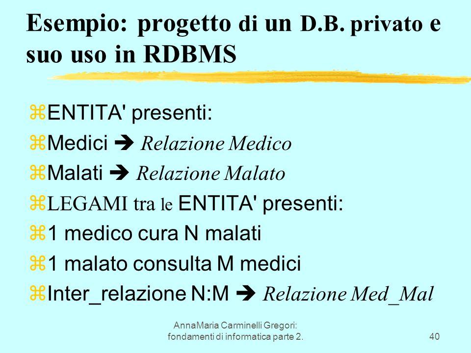 AnnaMaria Carminelli Gregori: fondamenti di informatica parte 2.40 Esempio: progetto di un D.B. privato e suo uso in RDBMS  ENTITA' presenti:  Medic
