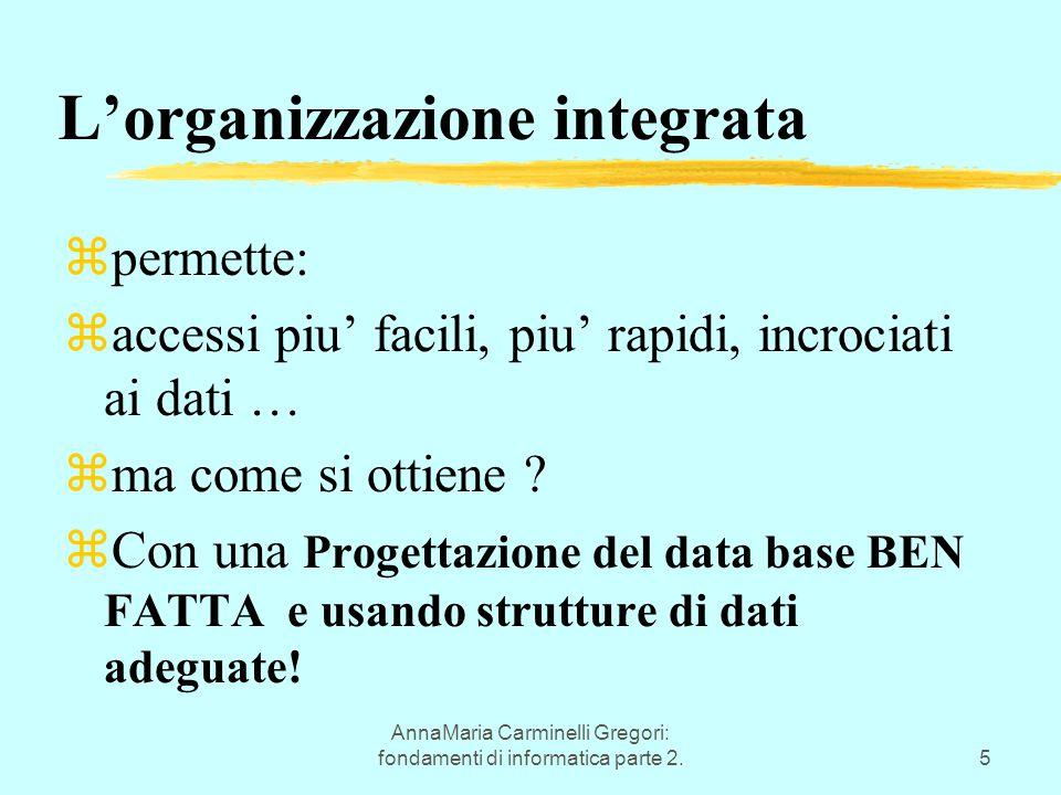 AnnaMaria Carminelli Gregori: fondamenti di informatica parte 2.5 L'organizzazione integrata zpermette: zaccessi piu' facili, piu' rapidi, incrociati