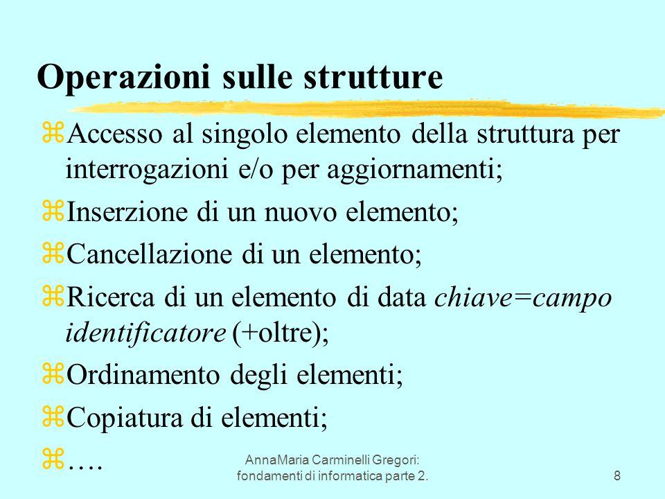AnnaMaria Carminelli Gregori: fondamenti di informatica parte 2.8 Operazioni sulle strutture zAccesso al singolo elemento della struttura per interrogazioni e/o per aggiornamenti; zInserzione di un nuovo elemento; zCancellazione di un elemento; zRicerca di un elemento di data chiave=campo identificatore (+oltre); zOrdinamento degli elementi; zCopiatura di elementi; z….