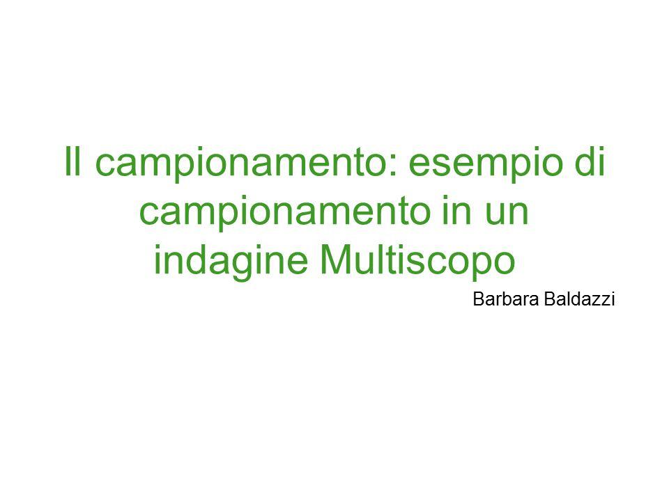 Il campionamento: esempio di campionamento in un indagine Multiscopo Barbara Baldazzi