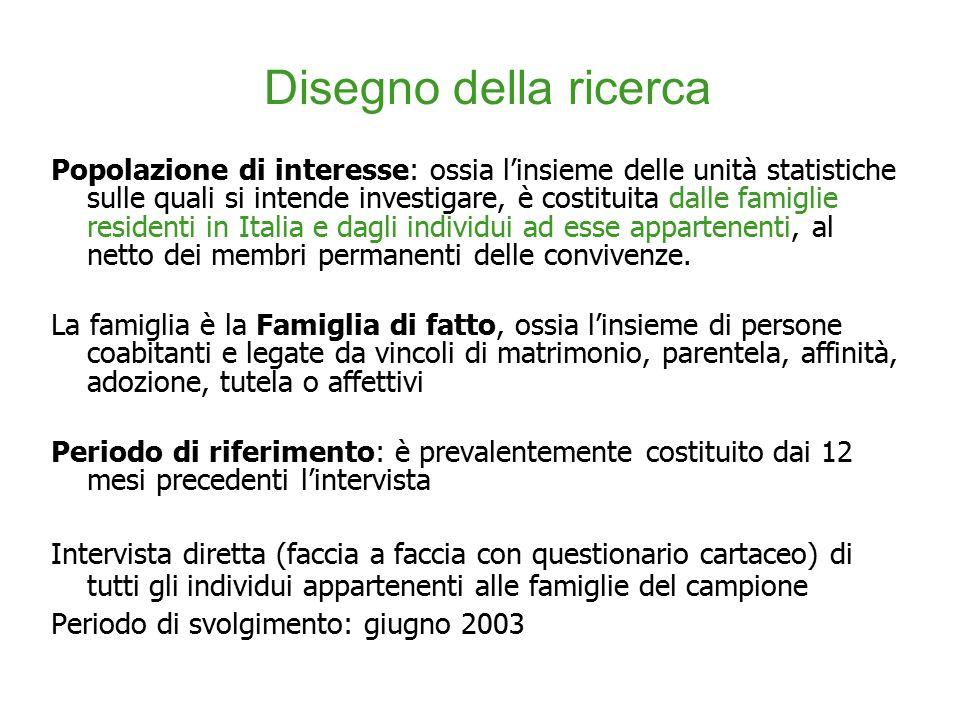 Popolazione di interesse: ossia l'insieme delle unità statistiche sulle quali si intende investigare, è costituita dalle famiglie residenti in Italia e dagli individui ad esse appartenenti, al netto dei membri permanenti delle convivenze.