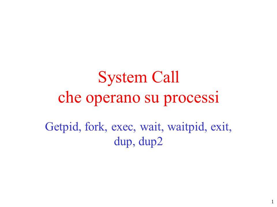 1 System Call che operano su processi Getpid, fork, exec, wait, waitpid, exit, dup, dup2