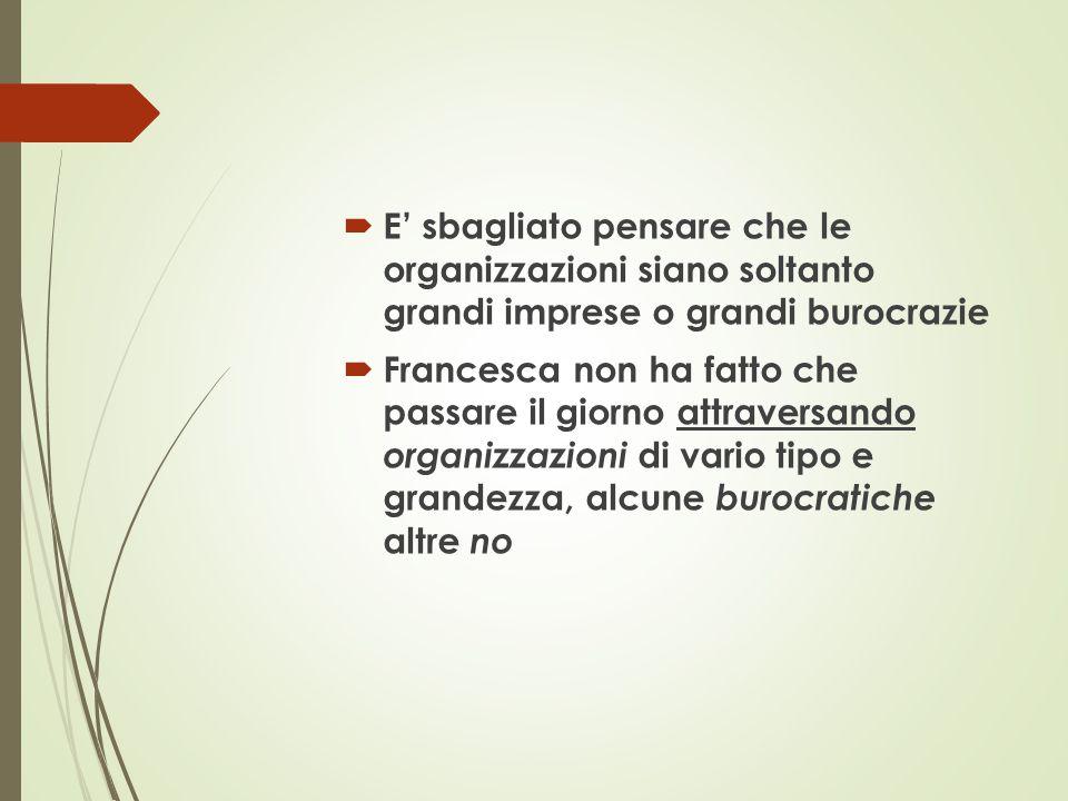  E' sbagliato pensare che le organizzazioni siano soltanto grandi imprese o grandi burocrazie  Francesca non ha fatto che passare il giorno attraver