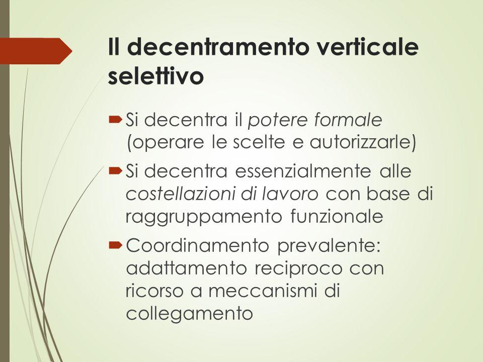 Il decentramento verticale selettivo  Si decentra il potere formale (operare le scelte e autorizzarle)  Si decentra essenzialmente alle costellazion